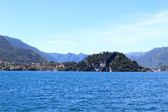 View towards lakeside city Bellagio at Lake Como with mountains in Lombardy Royalty Free Stock Images