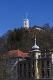 View towards Ljubljana Castle. From the Old Town Royalty Free Stock Images