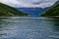 The Bay of Kotor from the ferry royalty free stock image