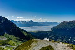 View towards and from Mount Alyeska overlooking Turnagain arm in. Photo taken in Alaska, United States of America royalty free stock photography