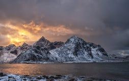 View towards Mt. Stortinden and Mt. Flakstadtinden in Lofoten archipelago. stock photography