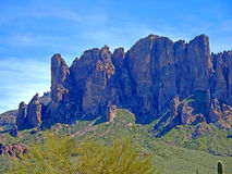 View Towards the Peaks at Lost Dutchman State Park Royalty Free Stock Photography