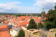 View towards Pirna cityscape with St. Marys Church from Sonnenstein castle Stock Photos