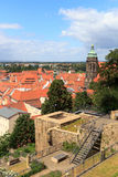 View towards Pirna cityscape with St. Marys Church from Sonnenstein castle Royalty Free Stock Photo