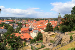 View towards Pirna cityscape with St. Marys Church from Sonnenstein castle. Germany Royalty Free Stock Image