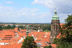 View towards Pirna cityscape with St. Marys Church from Sonnenstein castle. Germany stock images