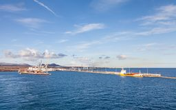 The View Towards the Port of Arrecife. On the Spanish island of Lanzarote Stock Images