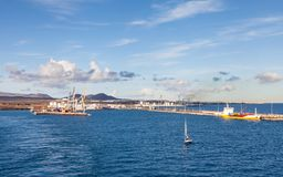 The View Towards the Port of Arrecife. On the Spanish island of Lanzarote Royalty Free Stock Photography