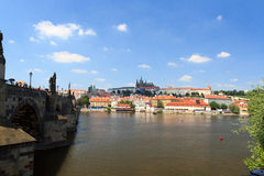 View towards Prague Castle and Mala Strana (Lesser Town) with Charles Bridge Stock Photos