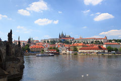 View towards Prague Castle and Mala Strana (Lesser Town) with Charles Bridge Stock Photography
