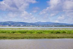 View towards Redwood City shoreline from Bedwell Bayfront Park, Menlo Park, San Francisco bay area, California royalty free stock image