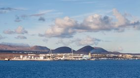 Costa Teguise on the Island of Lanzarote. The view towards the resort of Costa Teguise on the Spanish Canary Island of Lanzarote Stock Photos