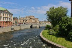 View towards Royal Opera House. View towards the Royal Opera from Riksbron in Stockholm Royalty Free Stock Photo