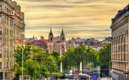 View towards San Jeronimo el Real Church in Madrid Stock Image
