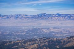 View towards San Jose and south San Francisco bay from the top of Mt Umunhum stock photos