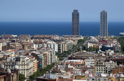 View towards the sea in Barcelona, Spain Royalty Free Stock Image