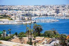View towards Senglea and Vittoriosa from Valletta. View towards Senglea and Vittoriosa seen from Valletta, Valletta, Malta, Europe Royalty Free Stock Photos