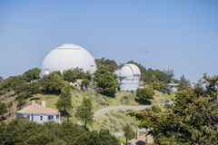 View towards Shane Observatory and the Automated Planet Finder telescope, Mt Hamilton, San Jose, San Francisco bay area,. California stock photography