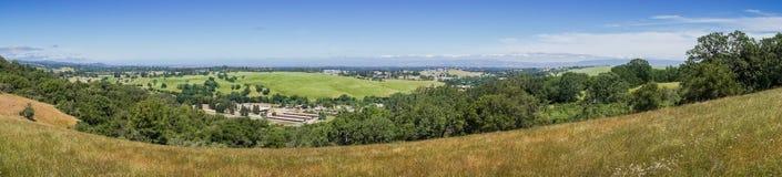 View towards the shoreline of San Francisco bay from the Peninsula Hills, California stock photo