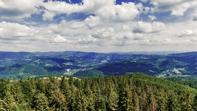 View towards Silesian Beskids Mountains from Czantoria Peak in Poland - Time Lapse Video 30fps. View towards Silesian Beskids Mountains from Czantoria Peak in stock video footage