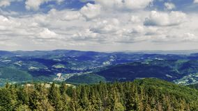 View towards Silesian Beskids Mountains from Czantoria Peak in Poland - Time Lapse Video 30fps. View towards Silesian Beskids Mountains from Czantoria Peak in stock footage