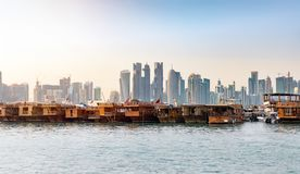 The skyline of Doha from the Dhow harbor royalty free stock images
