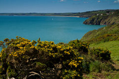 A view towards Slapton Sands beach in Devon. Includes a glimpse of the village of Stoke Fleming.   Photo taken from the South-West coastal path.  This was the Stock Photo