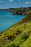 A view towards Stoke Fleming and Slapton Sands. In Devon.  Includes a glimpse of the village of Stoke Fleming.   Photo taken from the South-West coastal path Stock Photography