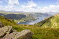 View towards Thirlmere from Helvellyn, Lake DIstrict, England Uk Royalty Free Stock Image