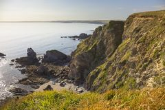 View towards Thurlestone Bay from Hope Cove, Devon, England Stock Image