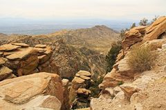 View Towards Tucson from Windy Point Vista. View over hoodoos towards Tucson from Windy Point on Mount Lemmon in Tucson, Arizona, USA in the Santa Catalina Royalty Free Stock Images