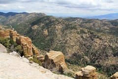 View Towards Tucson from Windy Point Vista. View over hoodoos towards Tucson from Windy Point on Mount Lemmon in Tucson, Arizona, USA in the Santa Catalina Royalty Free Stock Photos
