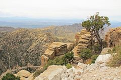View Towards Tucson from Windy Point Vista. View over hoodoos towards Tucson from Windy Point on Mount Lemmon in Tucson, Arizona, USA in the Santa Catalina Stock Images