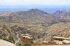 View Towards Tucson from Windy Point Vista. View towards Tucson of winding road from Windy Point on Mount Lemmon in Tucson, Arizona, USA in the Santa Catalina Royalty Free Stock Photo