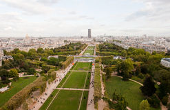 View from the tower. Panoramic view of Paris from the top of Eiffel Tower royalty free stock photography