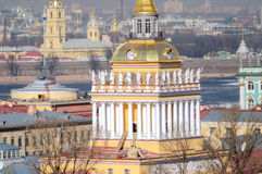 View of the tower of the Admiralty in St. Petersburg. Royalty Free Stock Photography
