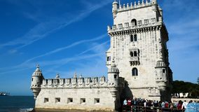 View of the tower of Belem, Tagus river, clear day and blue sky, Lisbon stock video
