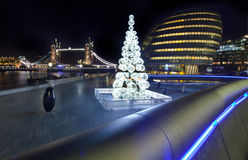 View of Tower Bridge and City Hall at Christmas Stock Photo