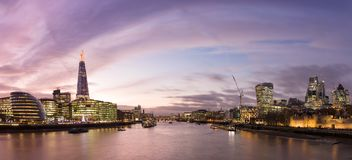 View from Tower Bridge on London Cityscape panorama at sunset royalty free stock images