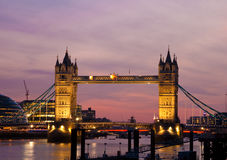 View of the Tower Bridge in London at sunset Stock Photo