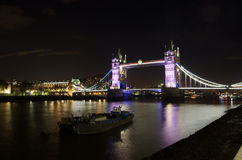 View of the Tower Bridge at night: London. Stock Images