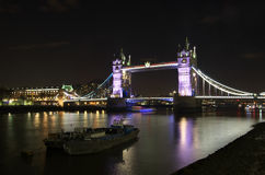 View of the Tower Bridge at night: London. Stock Photos