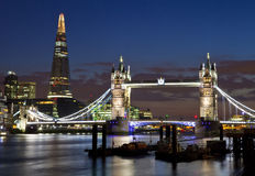 View of Tower Bridge and the Shard in London. A magnificent view of Tower Bridge, the Shard and the River Thames in London Royalty Free Stock Photo