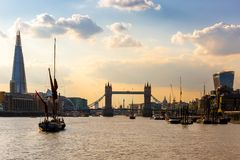 View of tower bridge at sunset, London Stock Images