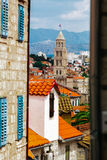 View of the tower of the Cathedral Split distant region of Split, Croatia Royalty Free Stock Photography