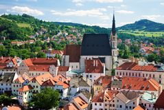 View from tower on Cesky Krumlov Royalty Free Stock Photography