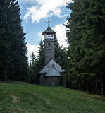 View tower with chapel on Kozubova hill in Moravskoslezske Beskydy mountains Stock Images
