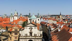 View on the old town of Prague. View from the tower of Charles Bridge on the Salvator church and the old town of Prague stock image