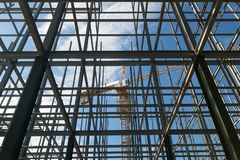 Construction sites, cranes and huge steel structure stock photos