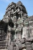 View of tower decorated with carvings at the 12th Century Ta Som temple complex. Scene around the Angkor Archaeological Park. The site contains the remains of Stock Photography